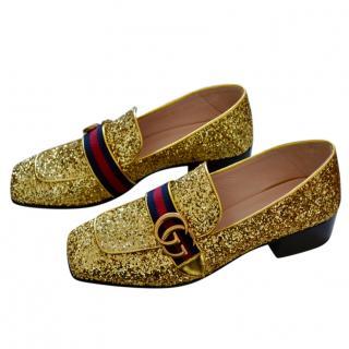Gucci Gold Glitter Peyton Web Loafers
