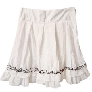 Karl Lagerfeld White A-Line Ruffled Mini Skirt