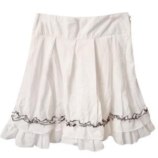 Karl Lagerfeld White A-Line Ruffled Mini Skirt