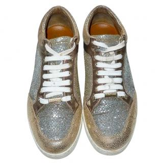 Jimmy Choo Metallic Multicoloured Miami Low Top Sneakers