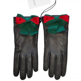 Gucci Web Bow Applique Black Leather Gloves
