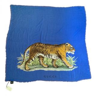 Gucci Blue Tiger Print Silk Print 130cm Scarf