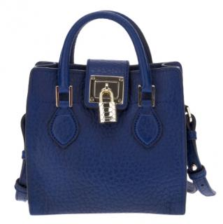 Roberto Cavalli Blue Leather Mini Satchel Crossbody Bag