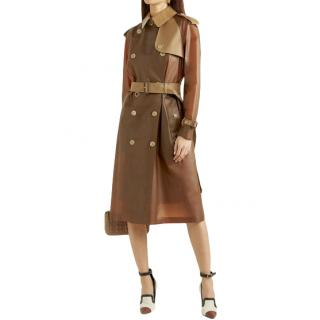 Burberry Brown Leather Trim Trench Coat