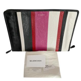 Balenciaga Striped Colourblock Zip-Around Pouch