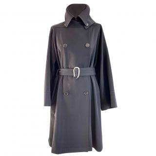 Hermes black wool cape detail belted coat