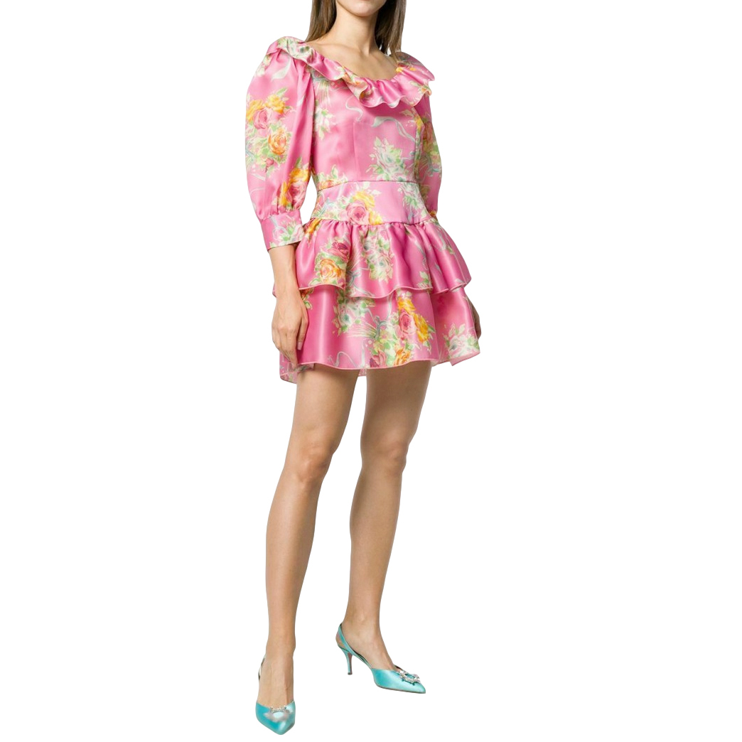 Alessandra Rich Pink Floral Print Organza Mini Dress