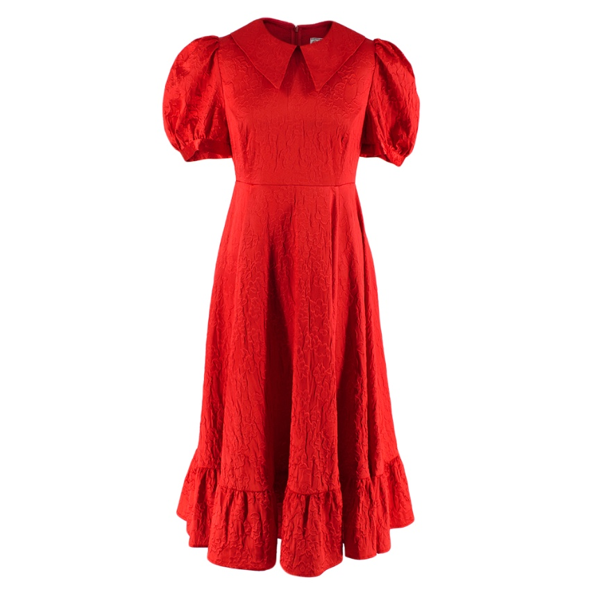 Shrimps Red Satin Floral Textured Puff Sleeve Dress