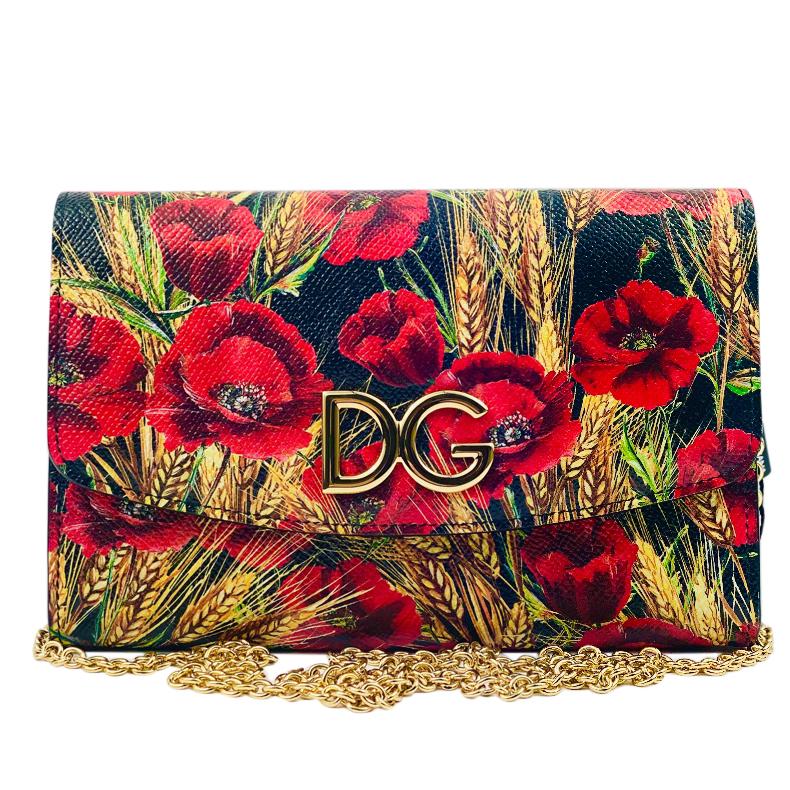 Dolce & Gabbana Saffiano Leather Poppy Print Crossbody bag
