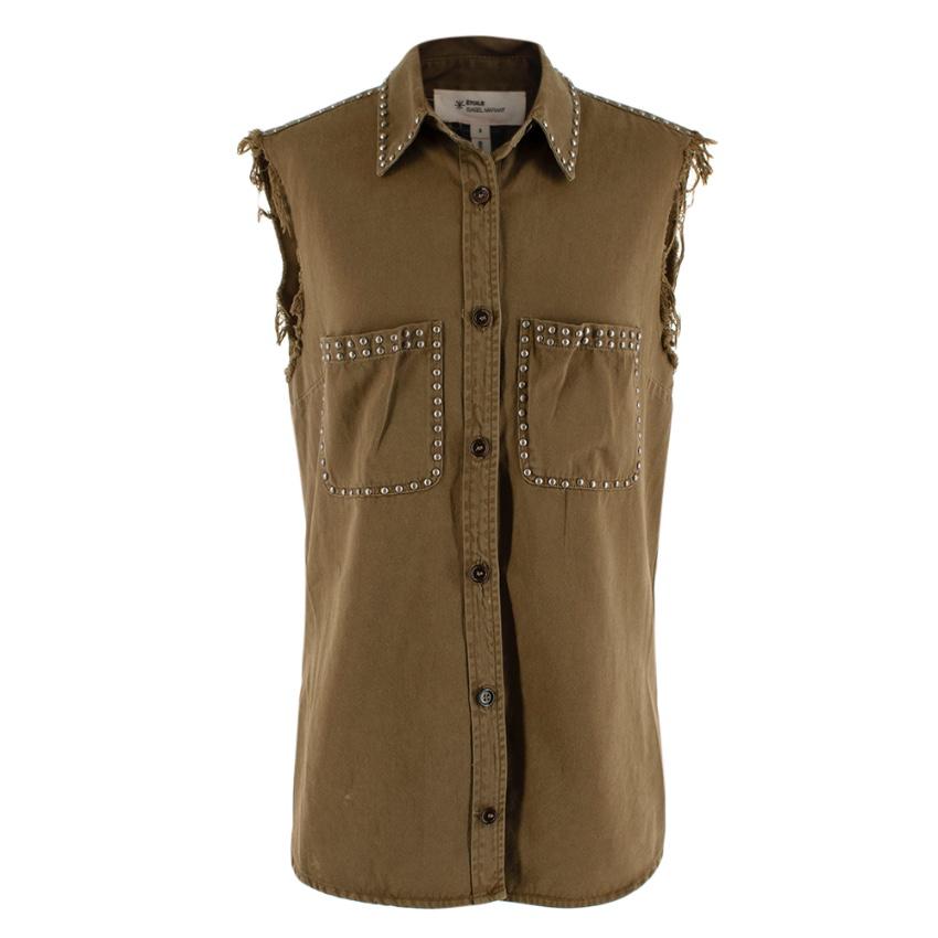 Isabel Marant Etoile Khaki Studded Sleveless Shirt