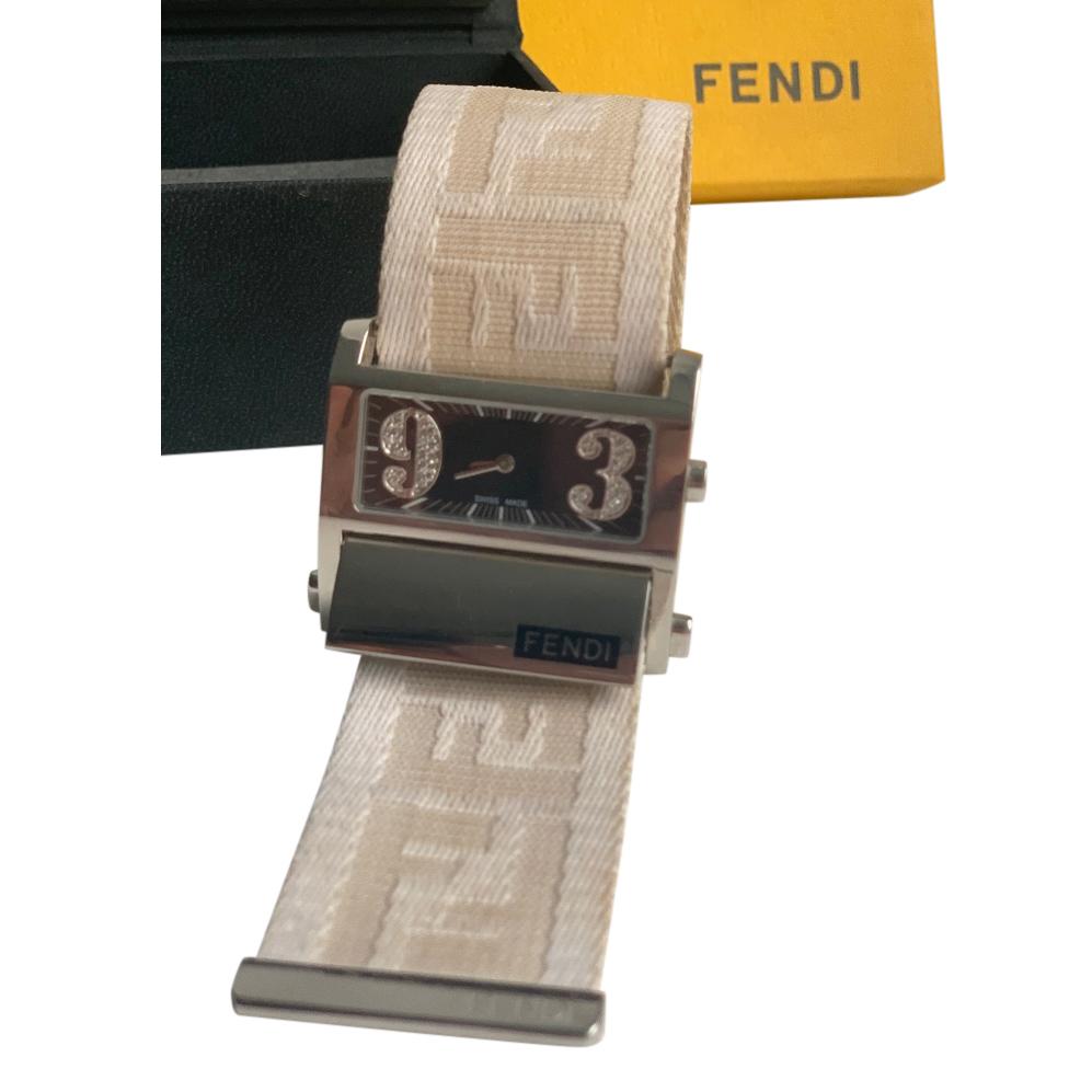 Fendi Logo Strap Rectangular Watch