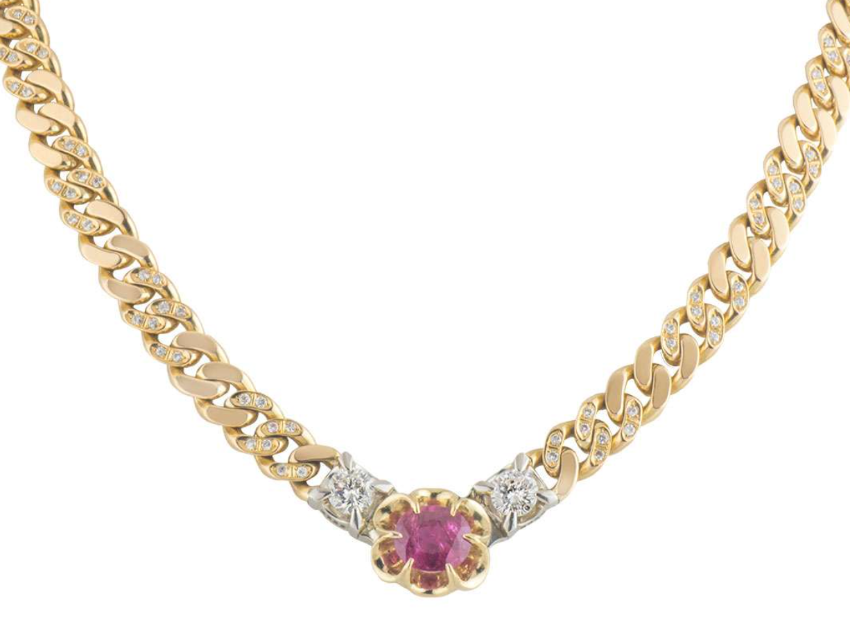 Bespoke 18kt Yellow Gold Ruby & Diamond Chain Necklace