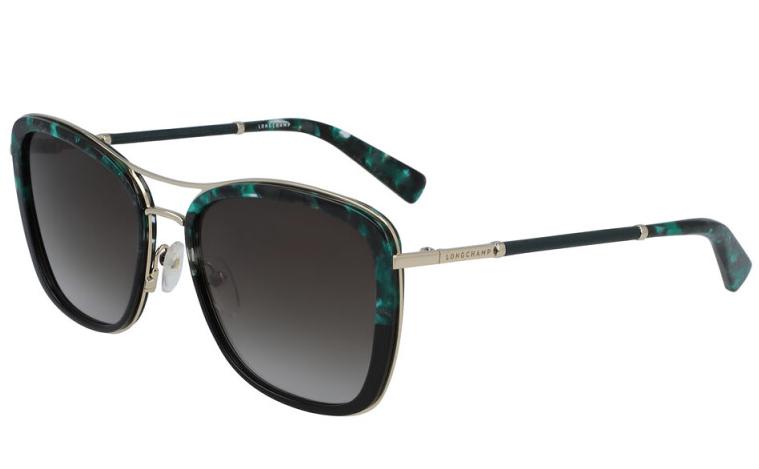 Longchamp Green & Black Marbled Effect Square Sunglasses