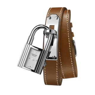 Hermes steel kelly lock case watch with barenia double strap