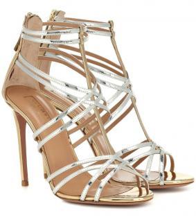 Aquazurra silver and gold Princess sandals