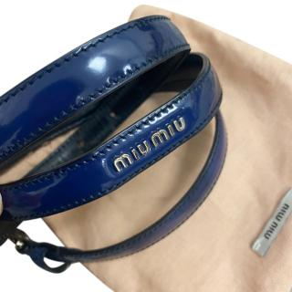 Miu Miu Navy Blue Patent Skinny Belt
