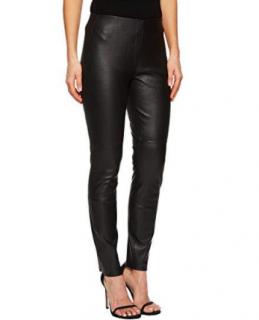 Escada Black Lambskin Leather Pants