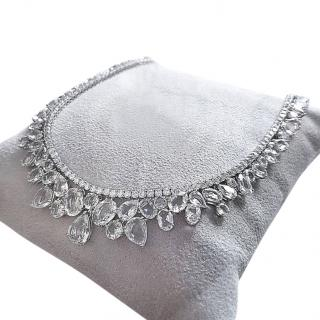 William & Son 18ct White Gold Diamond & White Sapphire Necklace