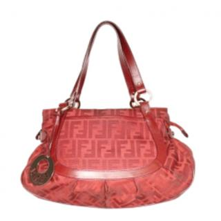 Fendi Red Canvas & Leather FF Tote Bag