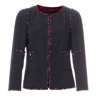 Chanel Paris/Shanghai Black & Red Tweed Classic Jacket