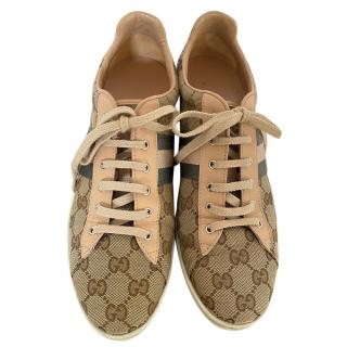 Gucci Supreme Canvas & Pink Python Lace-Up Sneakers