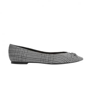 Maje Grey Prince of Wales Check Knotted Ballerinas