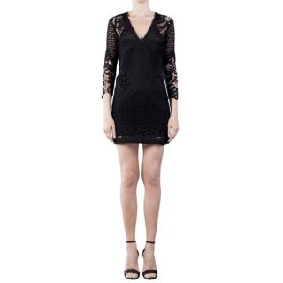 IRO black crochet rovea mini dress