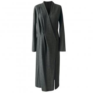 Chalayan Grey Wool Wrap Effect Dress