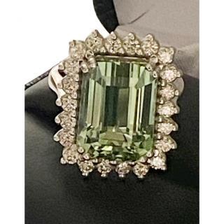 Ilia Shteiman Green Tourmaline & Diamond White Gold Cocktail Ring