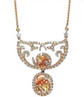 William & Son 18ct Rose Gold Morganite & Diamond Pendant
