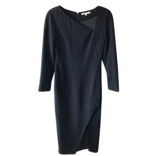 Carven Black Stretch Wool Cut-Out Midi Dress