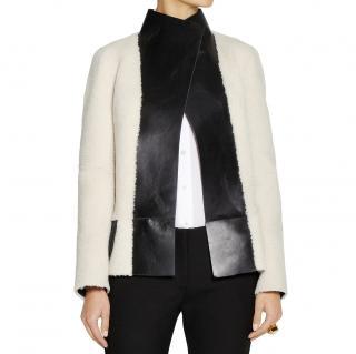 Joseph Black/Ivory Shearling & Leather Reversible Jacket