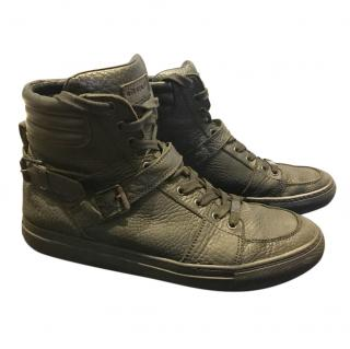 Belstaff Black Grained Leather High Top Sneakers