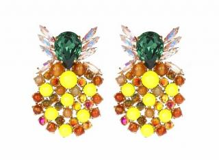 Bijoux de Famille Crystal Embellished Neon Pineapple Stud Earrings