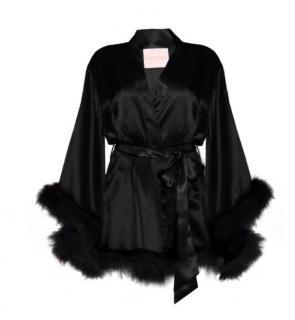 Maguy De Chadirac Black Satin Feather Trim Kimono
