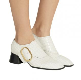Stella McCartney White Mock Croc Block Heel Pumps
