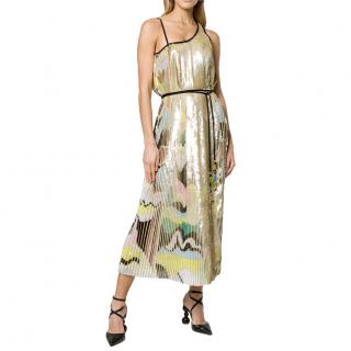 Emilio Pucci Asymmetric Shoulder Plisse Midi Dress