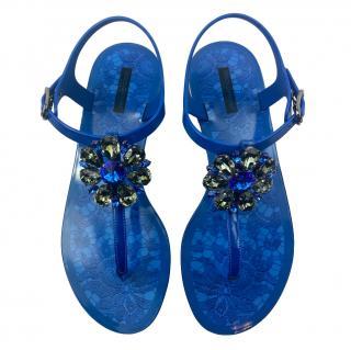 Dolce & Gabbana Royal Blue Lace Print Crystal Embellished Sandals