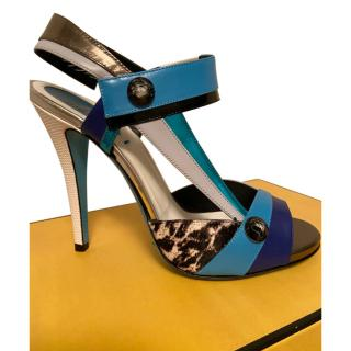 Fendi textured Leather & Calf Hair Multicoloured Sandals