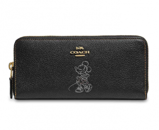 Coach x Disney Minnie Mouse Grained Leather Black Zip-Around Wallet