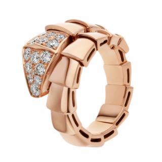 Bvlgari Diamond Set Serpenti Viper one-coil ring in 18 kt rose gold