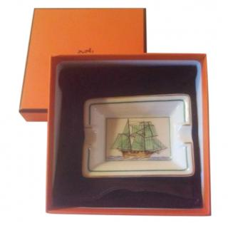 Hermes Small White Boat Print Ceramic Ashtray