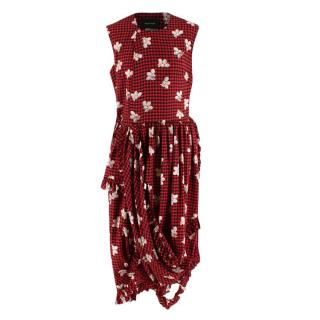 Simone Rocha Red & Black Silk Gingham & Floral Ruffled Dress