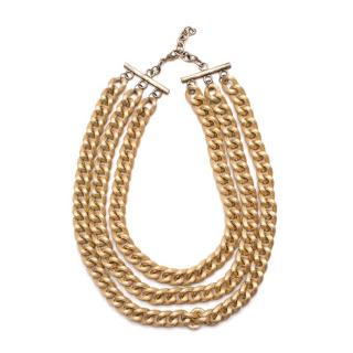 Bespoke Gold Tone Metal Textured Chain Necklace