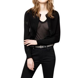 Zadig & Voltaire Black Nina Star Merino Knit Cardigan