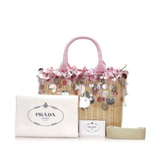 Prada Midollino Sequin-embellished Wicker & Canvas Tote