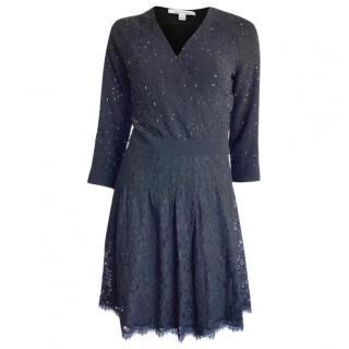 DVF Embellished Black Wrap Dress