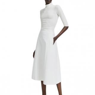 Theory Stretch Cotton Ivory Tulip Skirt