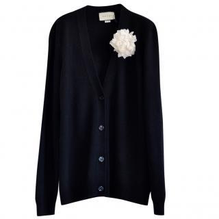 Gucci Black Wool & Cashmere Embellished Cardigan