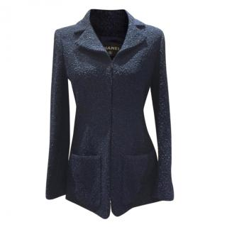 Chanel Navy Boucle Tweed Tailored Longline Jacket